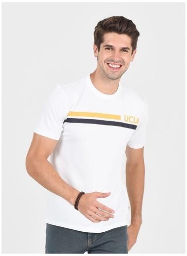 UCLA Ucla Aptos Bisiklet Yakalı Baskılı Beyaz Erkek T-Shirt Beyaz